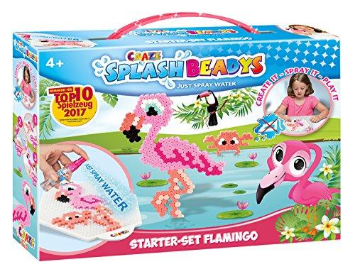 Craze 13441 Bügelperlen ohne Bügeln Tiere Splash Beadys Starter Set, Flamingo, mit Perlen und Zubehör, bunt