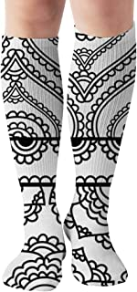 Henna Inspired Bannersborders Very Elaborate Easily Transportation Compression Socks For Men & Women Graduated Compression - Medical Grade For Varicose Veins, Edema, Severe Swelling In Feet & Legs 19.