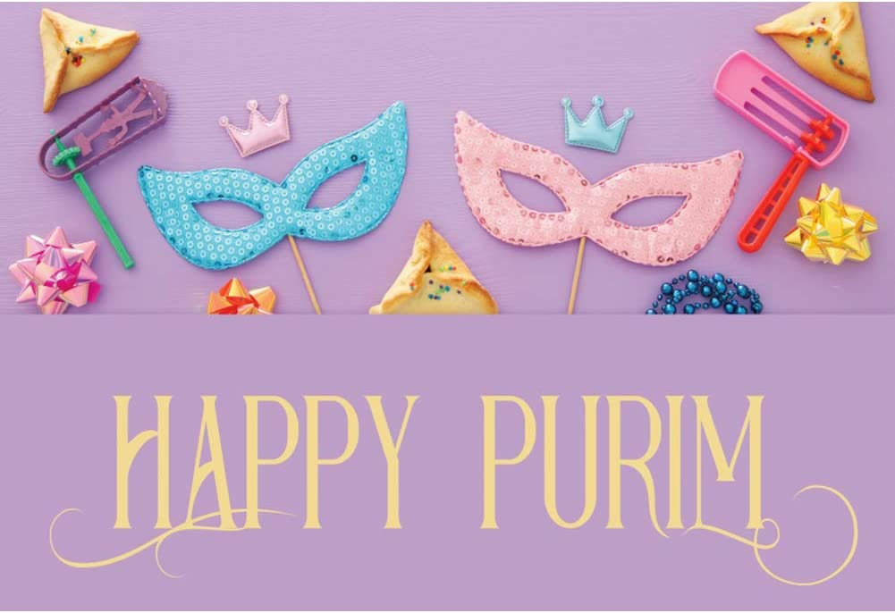 OERJU 12x10ft Happy Purim Backdrop Pink and Blue Paillette Mask Purple Photography Background Jewish Carnival Holiday Decorations Purim Celebration Banner Kids Adults Holiday Portrait Photo Props