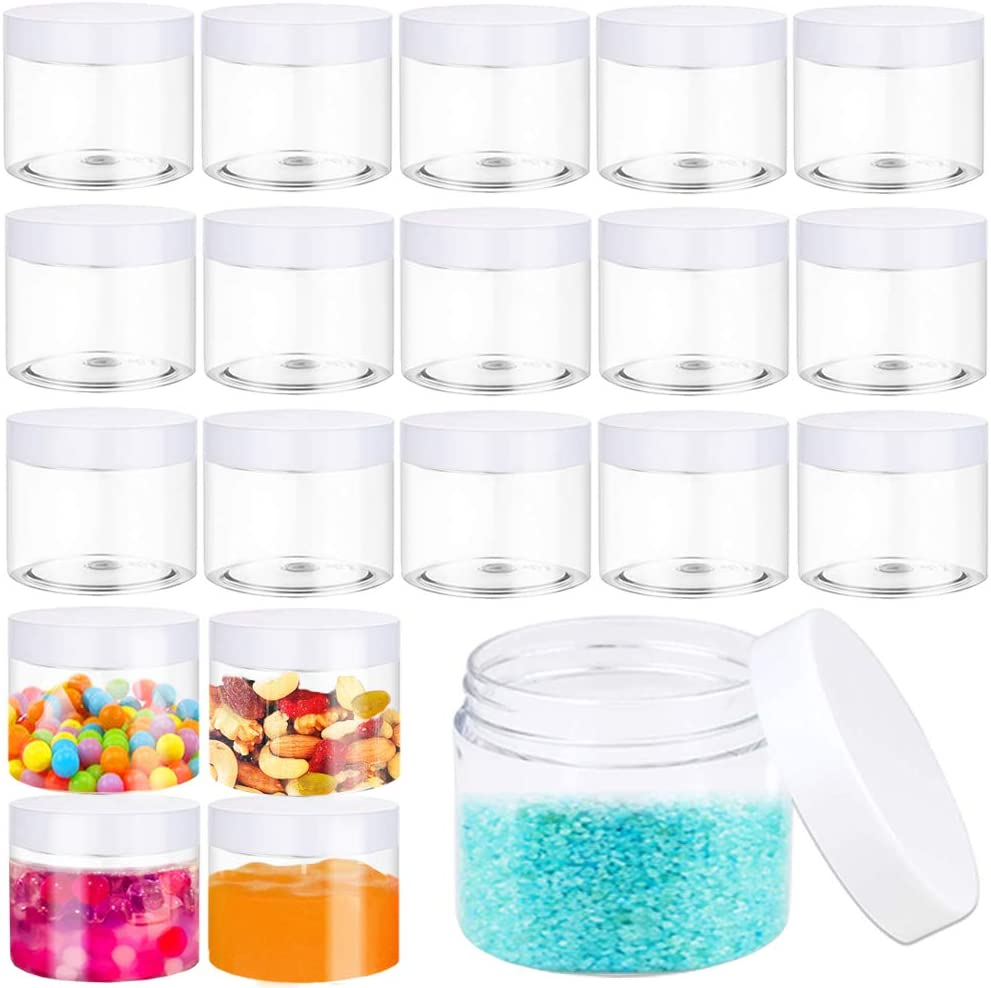 Cheap mail order sales 20 PCS 2 oz Clear Plastic outlet Slime wi Round Jars Containers