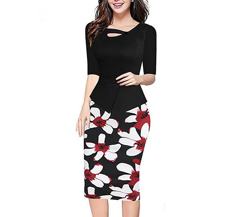 Summer Black Red Print Patchwork Dress Office Stretch Pencil Dresses 60