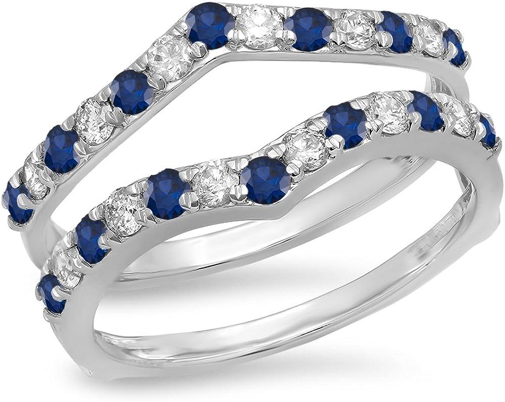 Dazzlingrock Collection Round Blue Sapphire & White Diamond Wedding Enhancer Guard Double Band 1 CT, 14K Gold