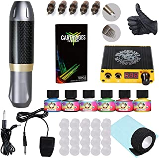 Dragonhawk Rotary Tattoo Machine Kit Pen Style Carbon Fiber Frame Machine Power Supply 10pcs Extreme Cartridges Immortal Tattoo Inks Supplies