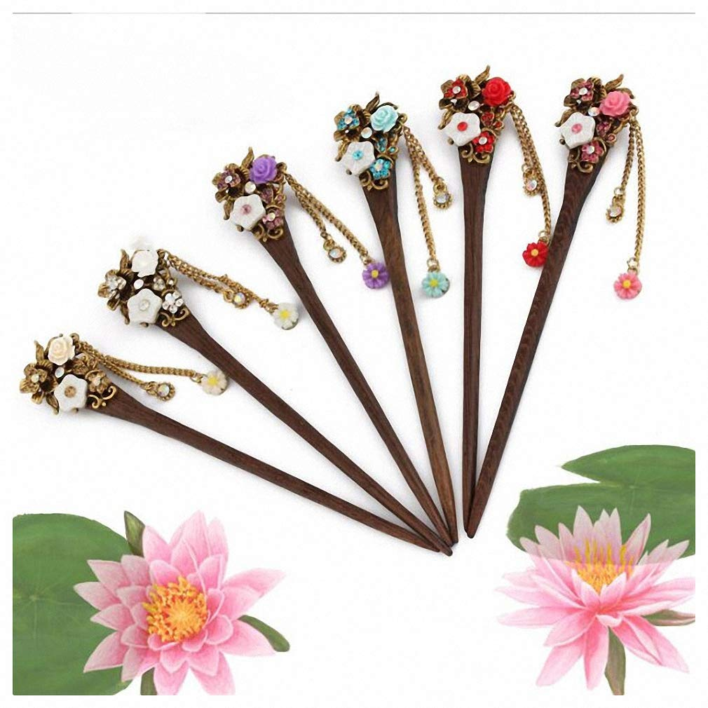 Pudwy Women Chinese Hairpin Upscale Handmade Japan's largest Rare assortment Hair Vi Sticks Wood