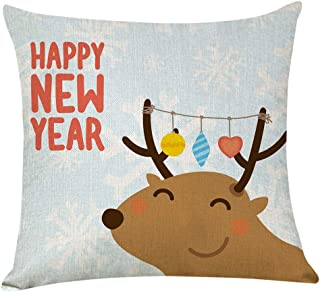 MIS1950s Merry Christmas Throw Pillow Covers Cushion Cases Decorative Elk Pillowcases for Couch Bed and Car,18