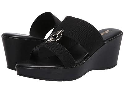 Anne Klein Hadya Wedge Sandal (Black) Women