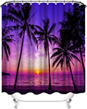 VividHome Sunset Beach Shower Curtain Tropical Palm Tree Landscape Waterproof Fabric Curtains for Bathroom Decor with 12 Hooks 72x72 Inches (Purple)