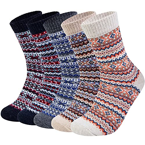 Loritta 5 Pairs Womens Wool Socks Thick Knit Vintage Winter Warm Cozy Crew Socks Gifts, Pure Color is $13.99 (53% off)
