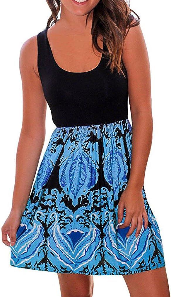 Sherosa Women's Summer Beach Sleeveless Tank Top Floral Print Casual Swing Mini Dress