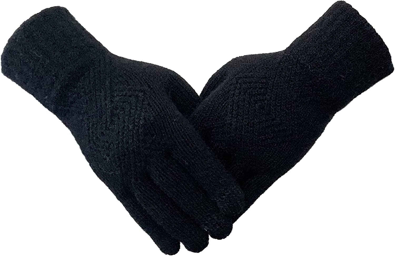 Beurlike Womens Winter Knit Gloves TouchScreen Texting Fleece Mitten Gloves Girls Full Finger Gloves