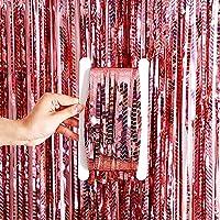 Augsion 2個セット オーロラ タッセルカーテン キラキラ 誕生日 飾り付け カーテン 100cm*250cm 小道具 結婚式 背景 写真映え 舞台 パーティー お祝い 男女の子 サプライズ パーティー デコレーション 誕生日装飾品 (Rainbow ローズコールド)