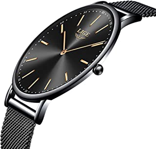 LIGE Slim Unisex Women Men Watches Waterproof Fashion Simple Analog Quartz Watch Man Black Stainless Steel Mesh Wristwatch