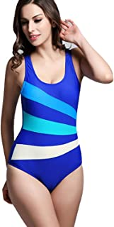 Women Sexy Swimming Costume One Piece Sport Swimsuit Push up Racer Swimwear Slimming Bathing Suit Beachwear Soft and Comfortable Without Irritation (Color : Blue, Size : 18)