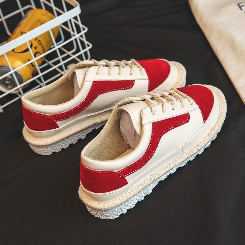 カジュアルスニーカー 靴の小さな白い靴バージョンフラットシューズ女性 (Color : Red, Size : 35)