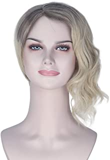 Miss U Hair Women Girl's Short Half Curly Half Straight Wig Decent Black Gradient Golden Cosplay Wig