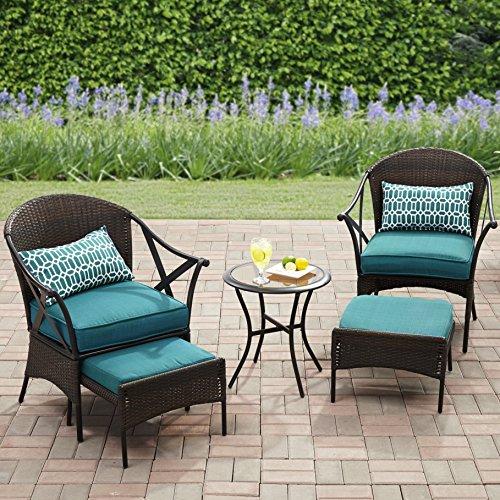 Mainstays 5-Piece Skylar Glen Outdoor Leisure Set, Blue, Seats 2