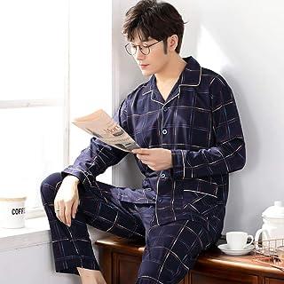Pijamas De Hombre,Pijama De Algodón 100% Para Hombre, 2 Piezas, Pijamas De Salón, Ropa De Dormir, Camisón De Otoño A Cuadros, Ropa De Hogar, Pijamas De Hombre, Conjunto De Pijamas De Algodón Pur