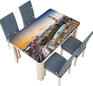 PINAFORE Indoor and Outdoor Tablecloth Nagoya Japan City Skyline at The Tower Liquid Spills Bead up W69 x L108 INCH (Elastic Edge)