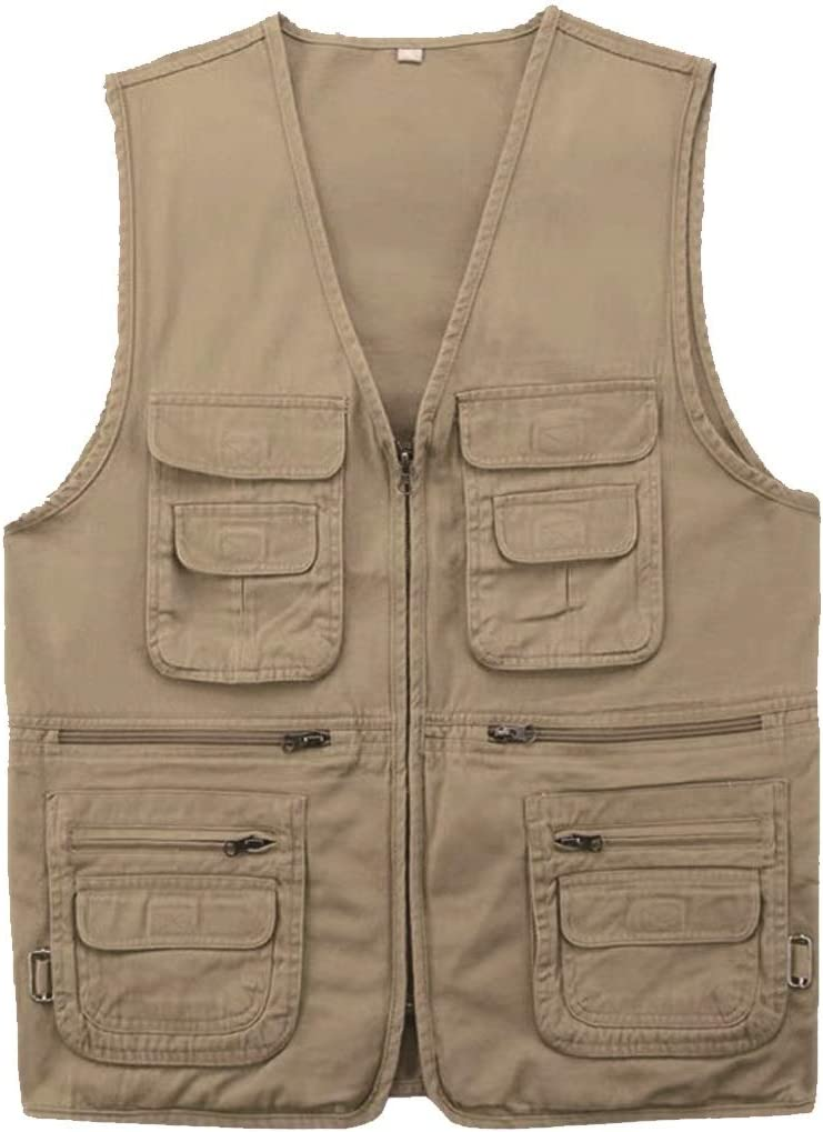 HXR Dad installs Outdoor Fishing Photography Pure Cotton Horse Clip Spring and Autumn Vest Men's V-Collar Multi-Pocket Shoulder Vest Vests (Color : Beige, Size : 2XL)