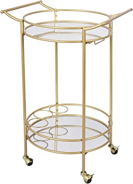 Bar Cart with 2 Mirrored Shelves, Durable Wine Cart with Casters, Suitable for Kitchen, Club, Living Room, Antique Gold Finis