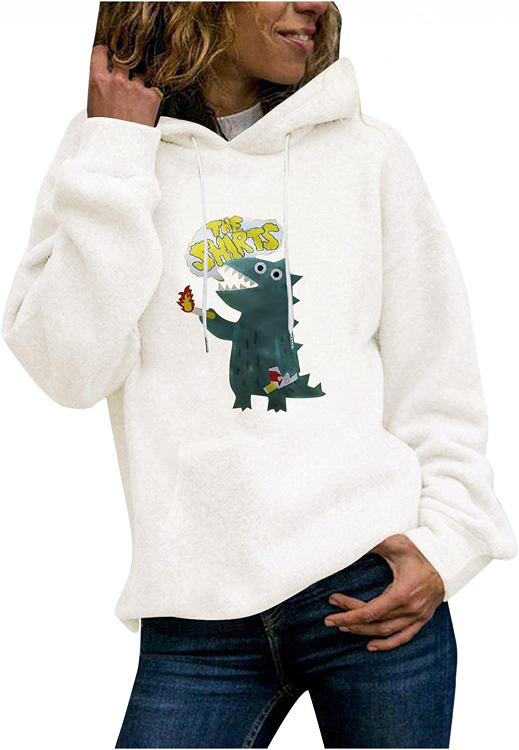 Zieglen Hoodies for Women Dinosaur Workout Plus Size Cute Long Sleeve Casual Loose Sweatshirts Pullover Tops Shirts Sweaters