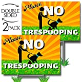 No Pooping Dog Signs for Yard, Clean Up After Your Dog Signs 2-Pack Double-Sided 12X9 Sturdy Weather Resistant H-Stake No Trespooping Sign No Dog Poop Signs Pick Up Your Dog Poop Signs Funny Polite