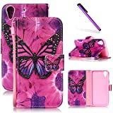 HTC Desire 626 Case, HTC 626 Case LEECOCO Fancy Print Design Wallet Case with Card Slots Shockproof Colorful Floral PU Leather Flip Stand Case Cover for HTC Desire 626/626s A Butterfly & Rose Case