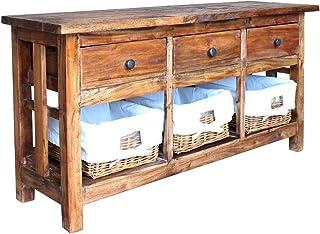 Buffet Commode Vintage, Armoire de Rangement avec Panier Amovible Meuble TV Industriel avec Tiroir pour Salon Bureau Chamb...