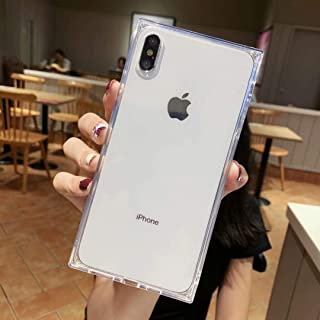 Transparent Case for iPhone X XS,Tzomsze Square Reinforced Corners TPU Cushion,Crystal Clear Slim Shock Absorption TPU Silicone Shell-White