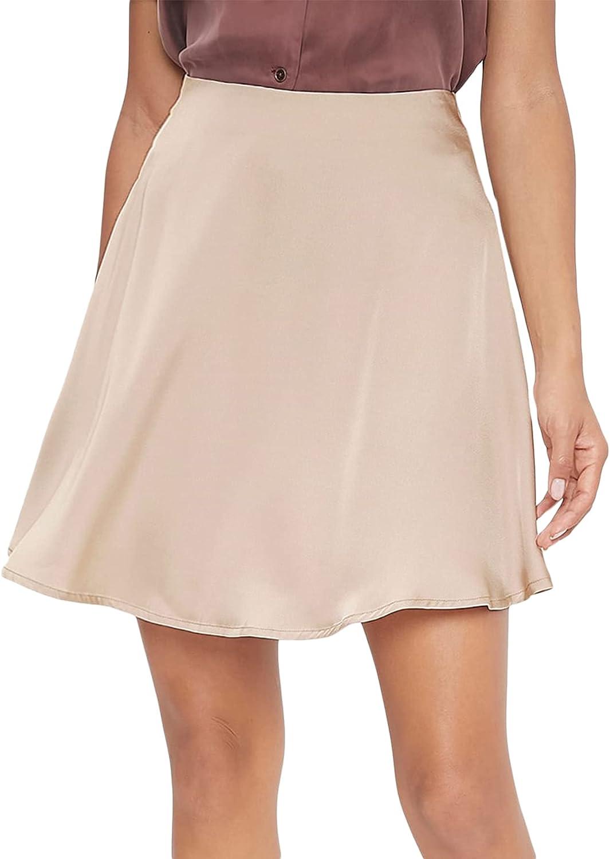 Milumia Women's High Waist A Line Short Skirt Zip Back Solid Flared Basic Skirt