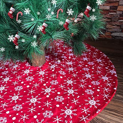N /A Henrey Tech Weihnachtsbaumrock Weihnachtsbaumdecke Rot Rund Mit Weißen Schneeflocken für Weihnachtsbaum Deko 90 cm