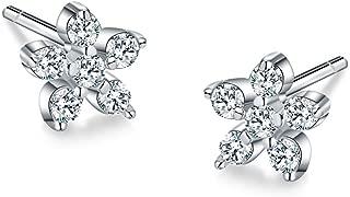 AoedeJ Tiny Flower Stud Earrings 925 Sterling Silver Earrings Cubic Zirconia Crystal Earrings for Girls Women