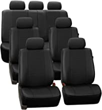 FH Group PU007217 3 Row Deluxe Leatherette Car Seat Covers w. 7 Headrests, Airbag Compatible and Rear Split, Black Color