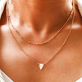 Tgirls Boho Bead Chain Layered Triangle Necklaces with Pendant for Women and Girls XL-28 (Gold)