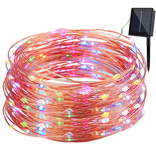 GDEALER Solar Copper Wire Lights, 100LED 33ft Copper Wire Lights Waterproof Wire Rope Lights Ambiance Lighting for Outdoor Landscape Patio Garden Bedroom Camping Christmas Party Wedding-RGB (1 Pack)