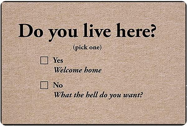 Coloranimal 室内户外门垫你住在这里吗防滑软胶前门地垫厨房客厅卧室浴室耐用地毯
