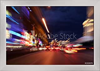 Las Vegas, Nevada - The Strip Blurry City Lights - Photography A-92456 (18x12 Giclee Art Print, Gallery Framed, Silver Wood)