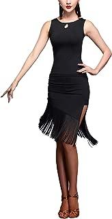 Fringe Two Piece Salsa Latin Type Side Slit Dance Dresses with Straps