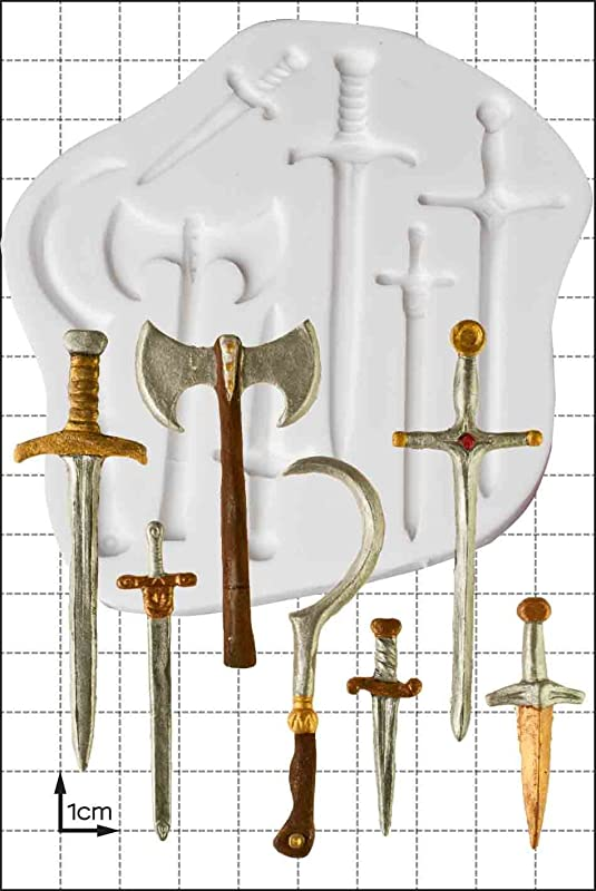 Swords Weapons Silicone Mould Non Stick Food Grade Mold Fondant Mold Candy Mold Resin Mold Fimo Mold Clay Mold Soapmaking Mold