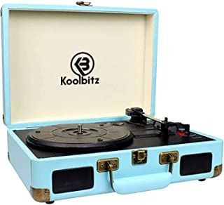 Koolbitz Retro 3-Speed Record Player, Vintage-Inspired Portable Suitcase Record Player With Bluetooth, USB, Built-In Speak...