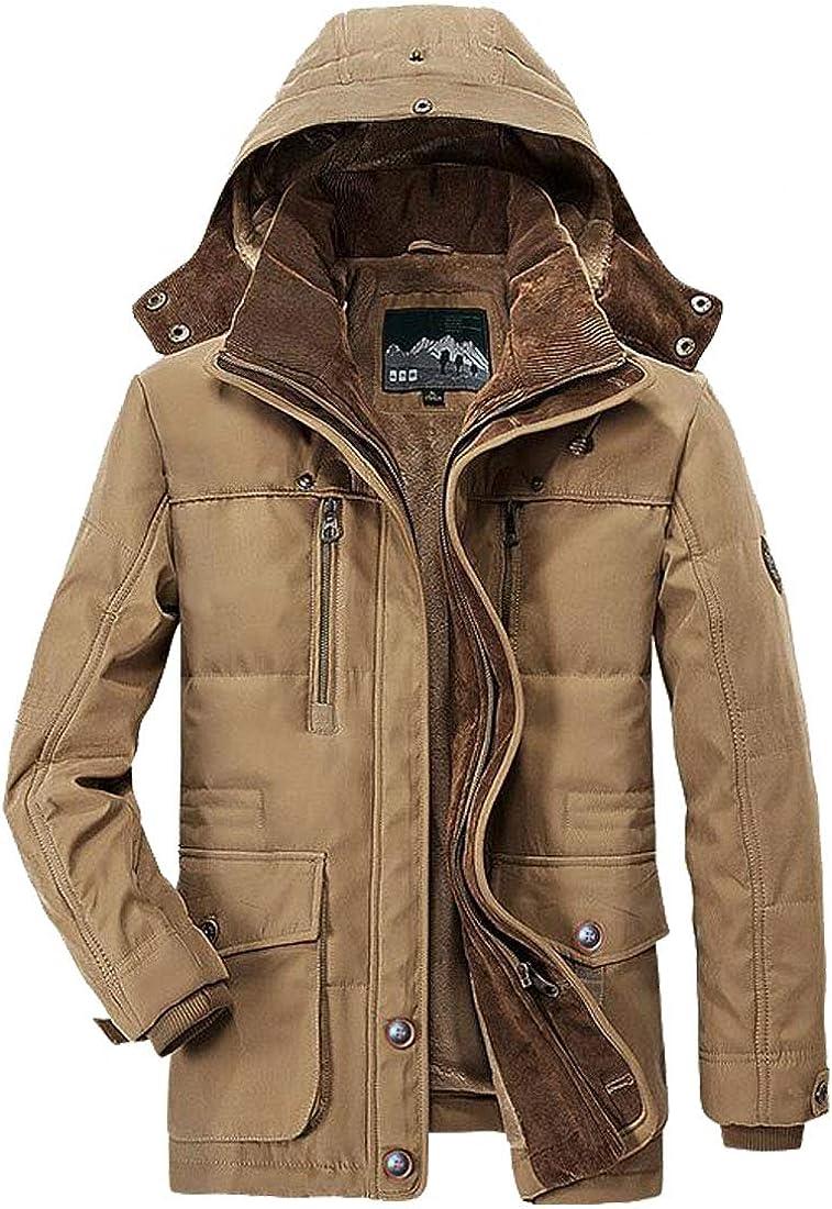 HZCX FASHION Men's Thicken Warm Cotton Coats Parka Jacket with Detachable Hood