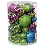 WeRChristmas - Bolas Decorativas navideñas (50 Unidades, inastillable), Color Rosa, Morado, Verde y...