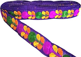 Yuktha Eternals Thread Flower Pattern Lace Border for Dress/Sarees/Lehenga/Blouses and Art & Craft Works - (1 inches x 9.8 Yards) (Violet)