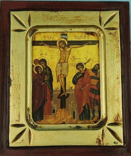 Icono. Crucifixión 11 cm x 13 cm. Cristo crucificado. Icono griego