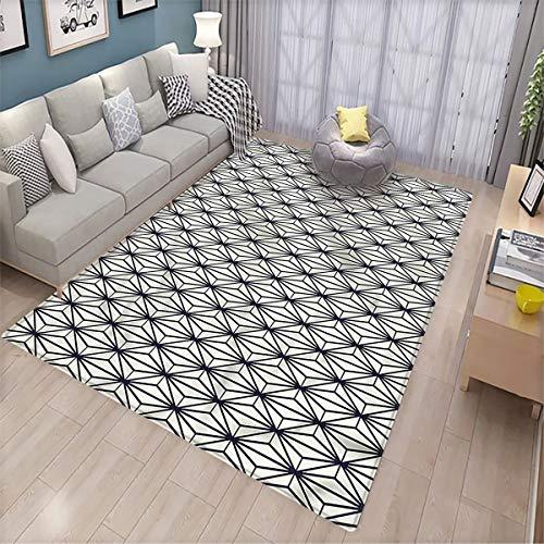 Alfombra de piso geométrica para salón de bambú, diseño de árbol de la naturaleza, multicolor