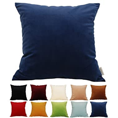 TangDepot Solid Velvet Throw Pillow Cover/Euro Sham/Cushion Sham, Super Luxury Soft Pillow Cases, Many Color & Size Options - (12 x12 , Navy Blue)
