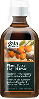 Gaia Herbs PlantForce Liquid Iron Supplement, 8.5 Ounce - Supports Healthy Iron and Energy Levels, Great-Tasting Vegetaria...