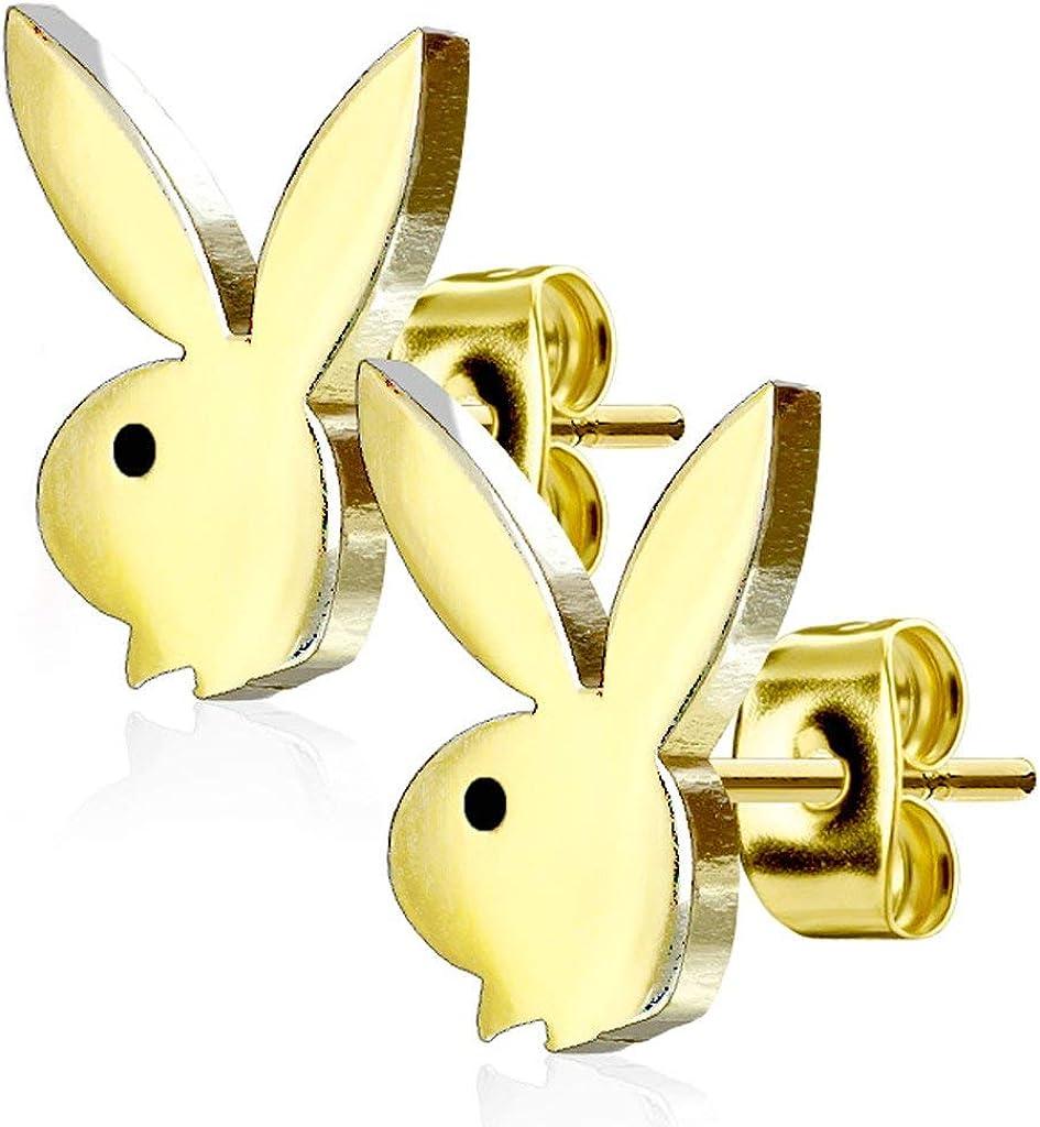 Forbidden Body Jewelry Surgical Steel Playboy Bunny Stud Earrings