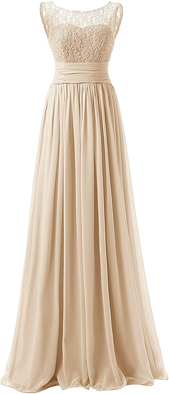 Uther Long Bridesmaid Dresses Chiffon Lace Wedding Guest Dress Prom Gowns Scoop Neck