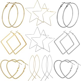 4-12 Pairs Big Hoop Earrings Set for Women Girls Gold Plated Rose Gold Plated Silver Stainless Steel Hoop Earrings Fashion Large Earrings for Sensitive Ears